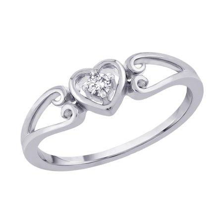 9781a2cfa0ffa4 Katarina - Diamond Heart Promise Ring in 10K White Gold (1/20 cttw) -  Walmart.com