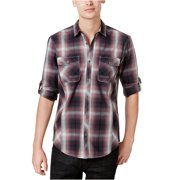 I-N-C Mens Thymine Plaid Button Up Shirt
