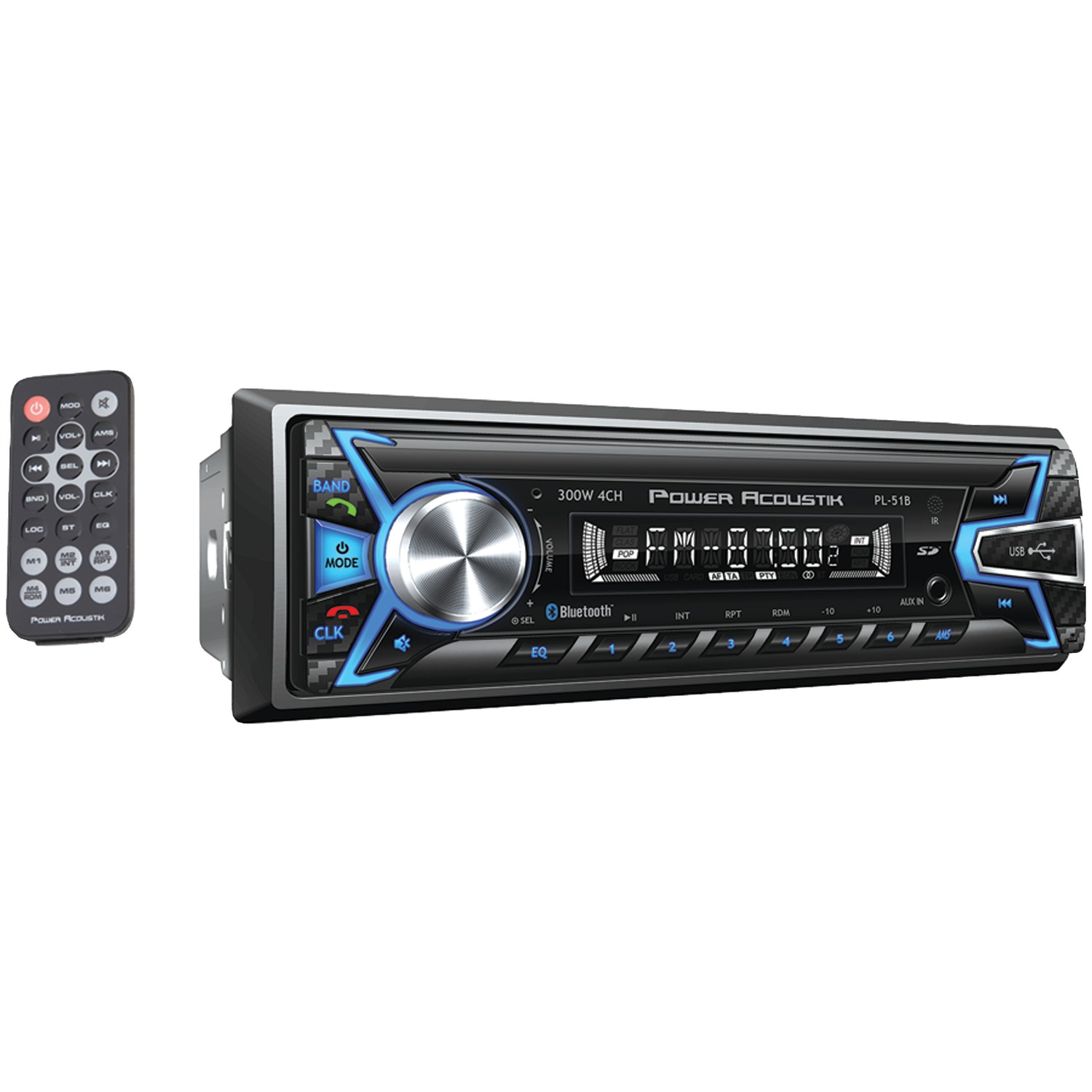 "Power Acoustik PL-51B 6.2"" Double-DIN In-Dash DVD/MP3/CD & AM/FM Receiver with Bluetooth"