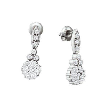 14K Yellow Gold 0.65ctw Sparkling Bezel Set Diamond Fashion Flower Earring ()