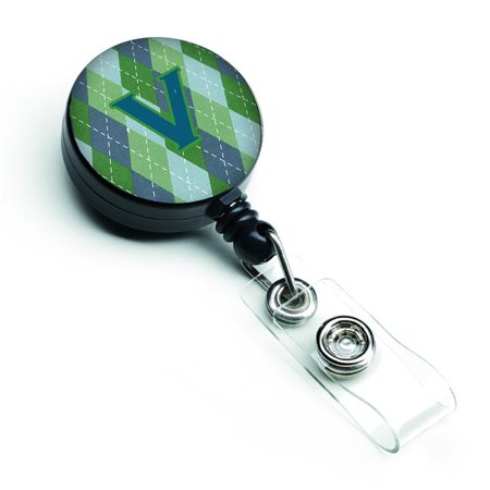 Carolines Treasures CJ1020-VBR Initial V Monogram Blue Argoyle Retractable Badge Reel - image 1 de 1