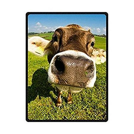CADecor Cute Cow Head Fleece Throw Blanket 58x80
