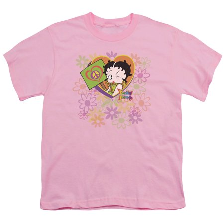 - Betty Boop/Peace Love And Boop Big Boys Youth Shirt (Pink, Large)
