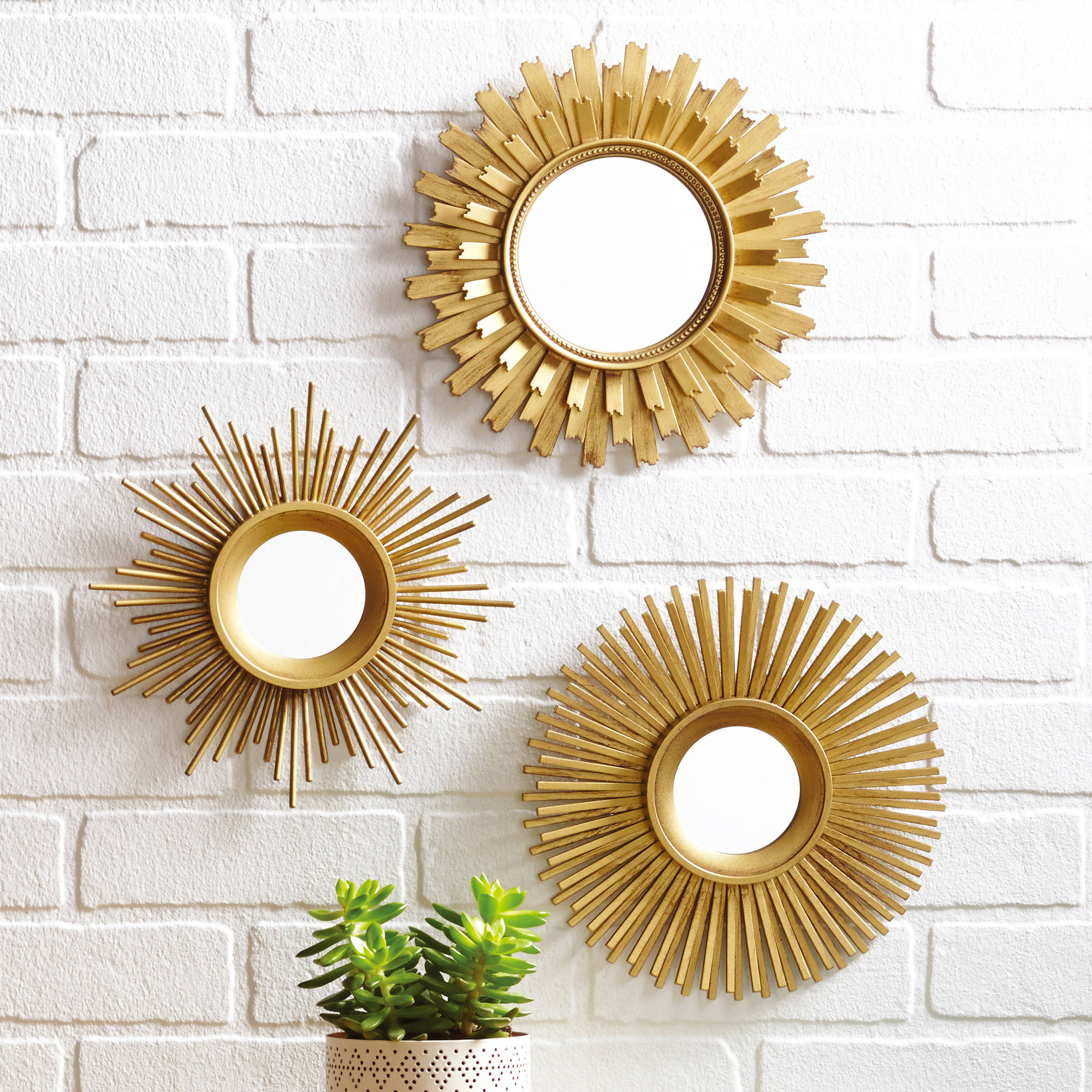 Sunburst Wall Mirror better homes and gardens 3-piece mirror set, multiple finishes