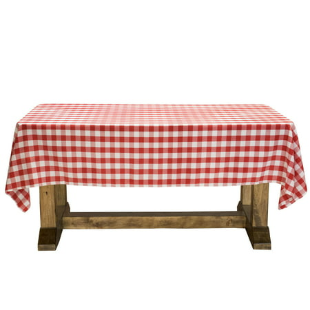 Lanns Linens Red White Checkered Tablecloth Premium Polyester - Outdoor picnic table covers