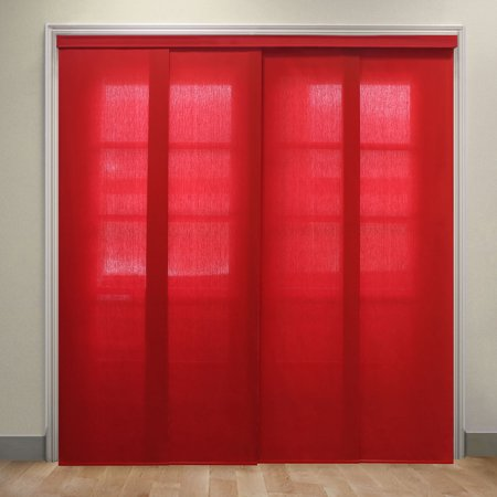 Fabric Vertical Blinds - Chicology Deluxe Adjustable Sliding Panels, Cut to Length Vertical Blinds, Allure Crimson (Privacy & Light Filtering) - Up to 80