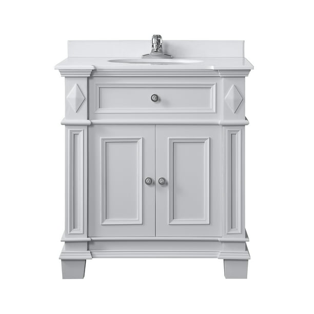 Ove Decors Barnsley 31 In Dove Gray Single Sink Bathroom Vanity With Yves Cultured Marble Top Walmart Com Walmart Com