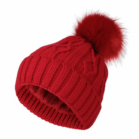 0d3be694a WITHMOONS Fleece Twist Knit Pom Beanie Winter Hat Slouchy Cap DZP0017 (Red)