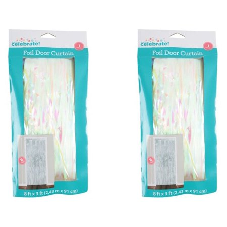 - (2 Pack) Way to Celebrate! Pink Foil Fringe Door Curtain, 3ft x 8ft