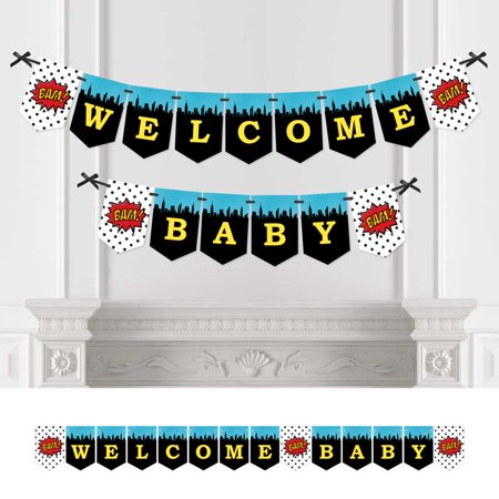 BAM! Superhero - Baby Shower Bunting Banner - Comic Book Party Decorations - Welcome Baby - Superhero Baby Shower Decorations
