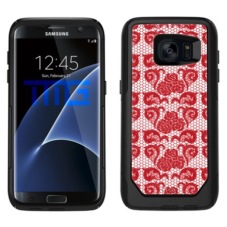 SKIN DECAL FOR OtterBox Commuter Samsung Galaxy S7 Edge Case - Stunning Hot Red Rose Swirl Lace DECAL, NOT A CASE