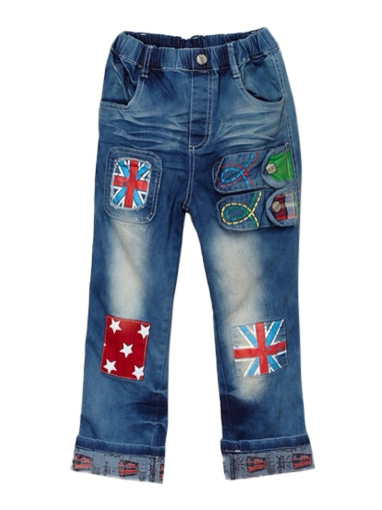Rock'nStyle Baby Boys Blue Flag Detail Patch Stretchy Denim Pants 18-24Mo