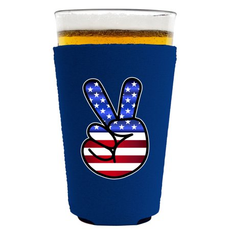 Peace Sign Glasses (America Peace Sign Neoprene Collapsible Pint Glass Coolie (Royal)