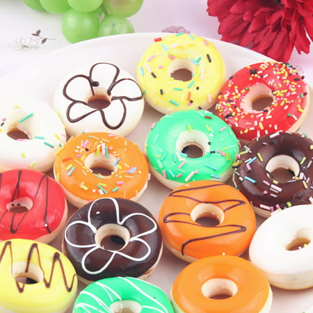 Colorful Simulation Donut Ornaments Fake Cake Model Fun Toys Soft Decoration Home Kitchen Creative Christmas/New Year Gift Style:Random Color - New Year Decoration Items