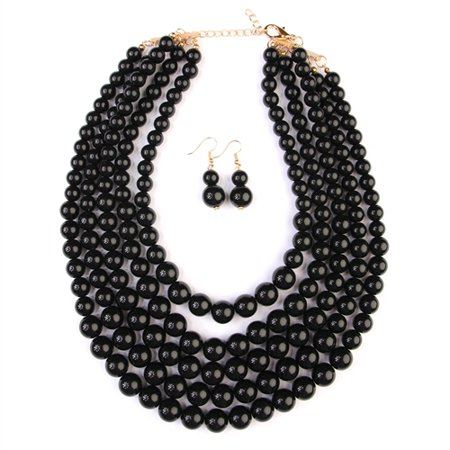 RIAH FASHION Beaded Bubble Statement Necklace - Beaded Necklaces