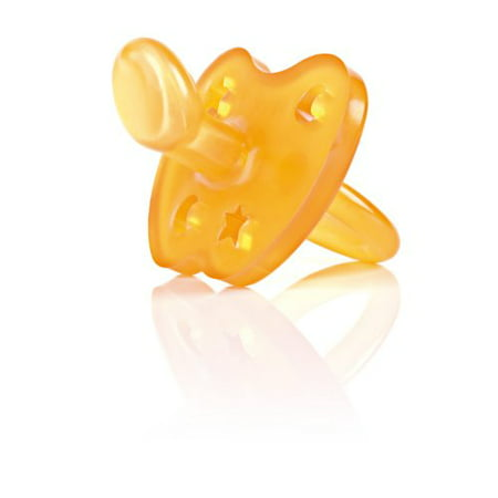 Original HEVEA Non-Toxic, Natural Rubber Star & Moon Pacifier, Orthodontic, 0-3 months, Plastic-Free (Natural Rubber Pacifier)