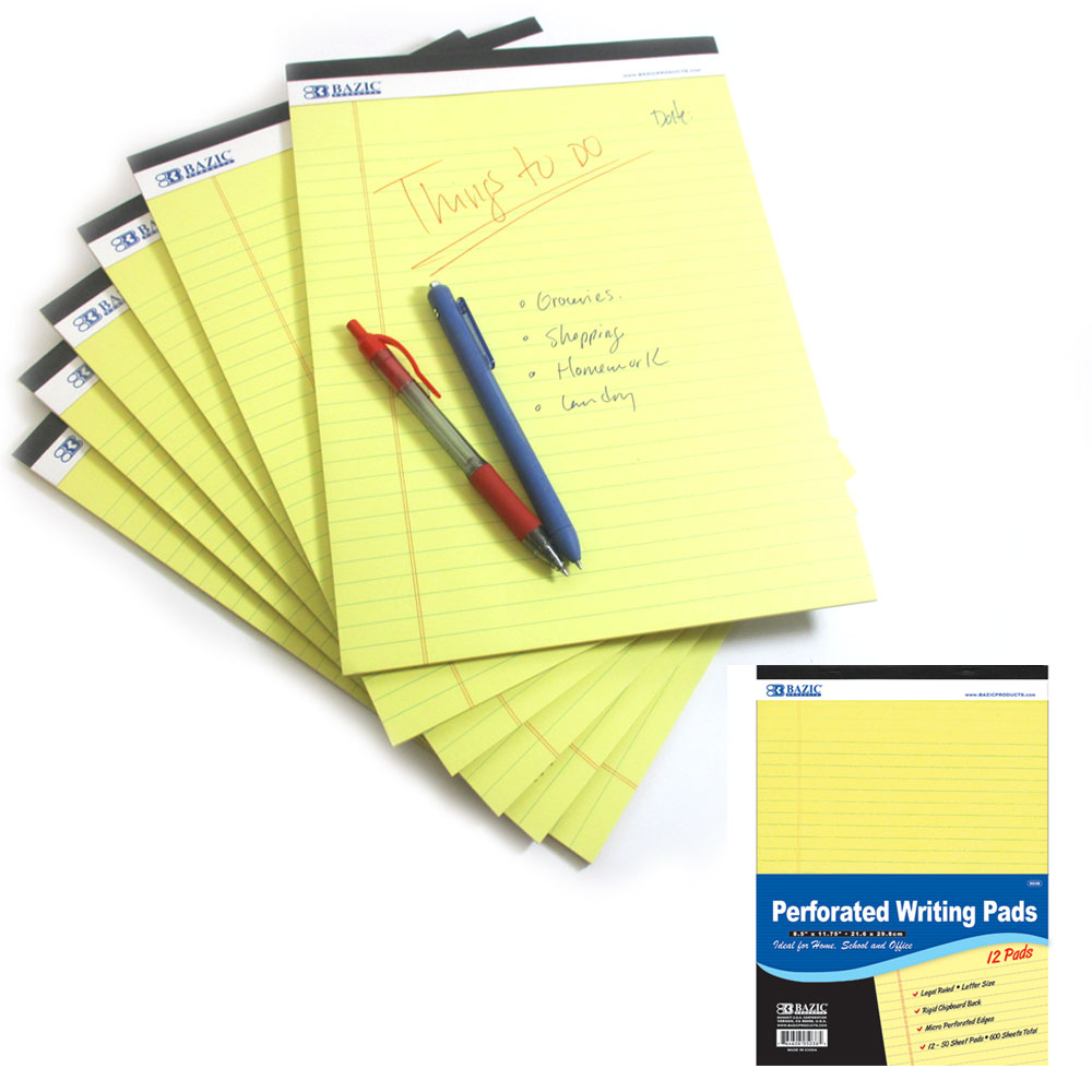 6 Pc Legal Pads Ruled Perforated Writing Pad 50 Sheets Letter Size 8.5 x 11.7