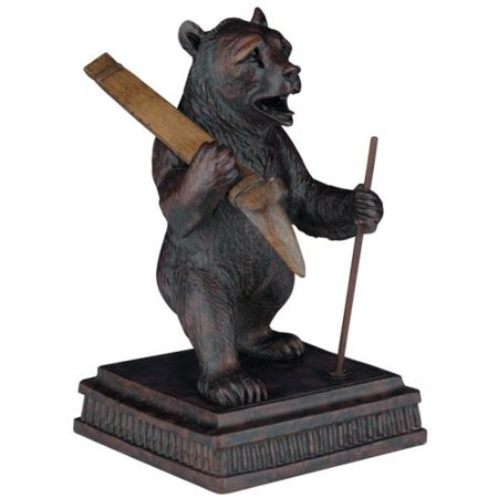 sculpture statue mountain rustic skiing bear resin new hand cast