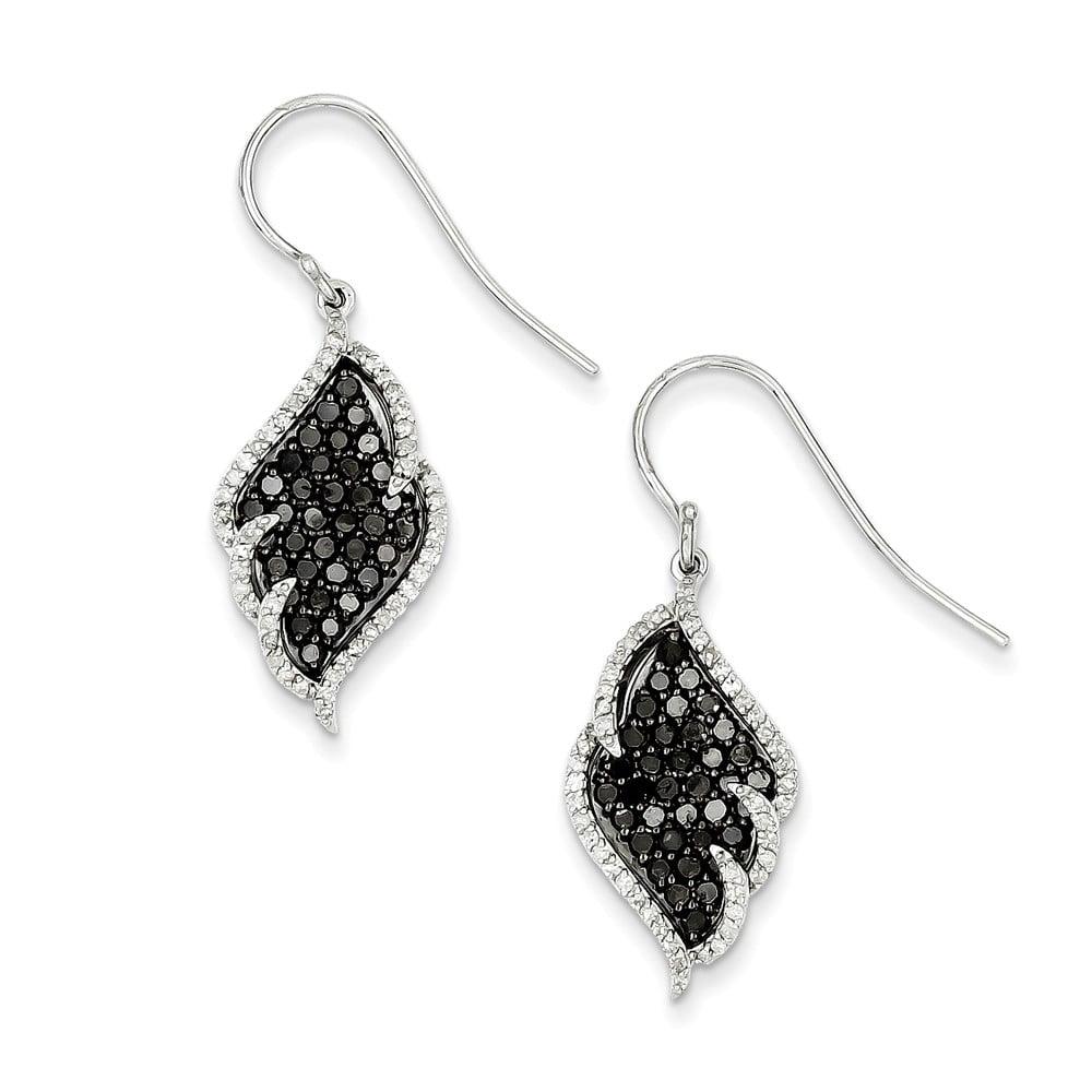 Sterling Silver Black & White Diamond Earring ( 2ct)