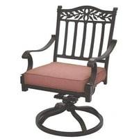 Darlee Charleston Swivel Patio Chair in Antique Bronze (Set of 2)