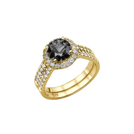 White Gold Diamond Designer Ring (1.50 CTW 14K Yellow Gold Black Diamond Ring with Diamonds Halo Double Shank Designer )