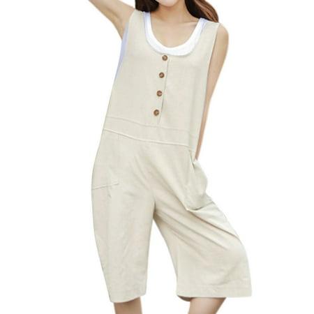 e8020a4ba8 Unique Bargains - Women's U Neck Button Decor Wide Legs Half Suspender Pants  - Walmart.com