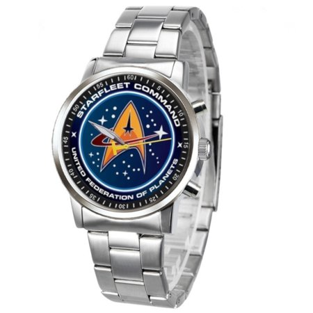 Star Trek Metal Stainless Steel Band Watch Starfleet Command Design wristwatch, (Most Watched Television Show In The World)