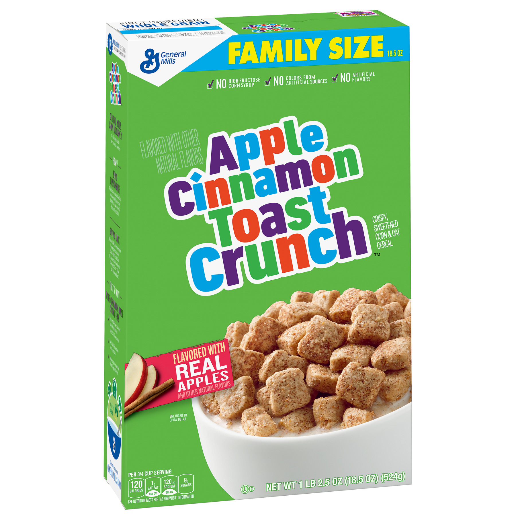 (2 Pack) Apple Cinnamon Toast Crunch Cereal, 18.5 Oz