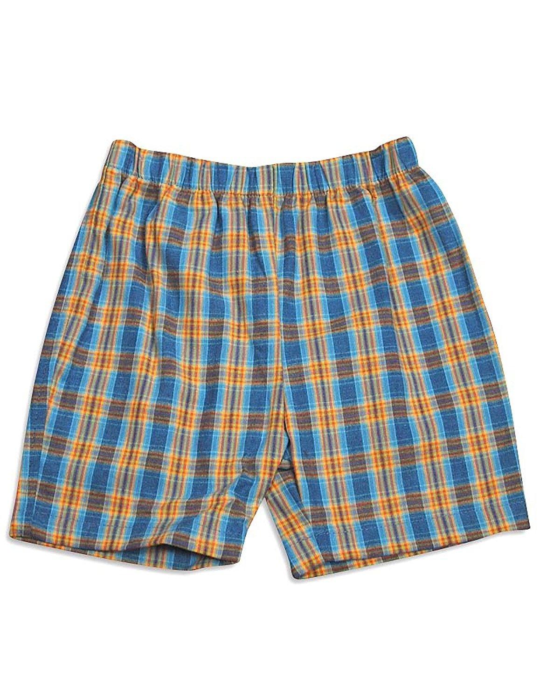 Mulberribush - Baby Boys Plaid Shorts Blue Orange Plaid / 12Months