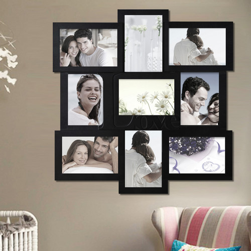 Adeco Trading 9 Opening Decorative ''Love'' Wall Hanging Collage Picture Frame