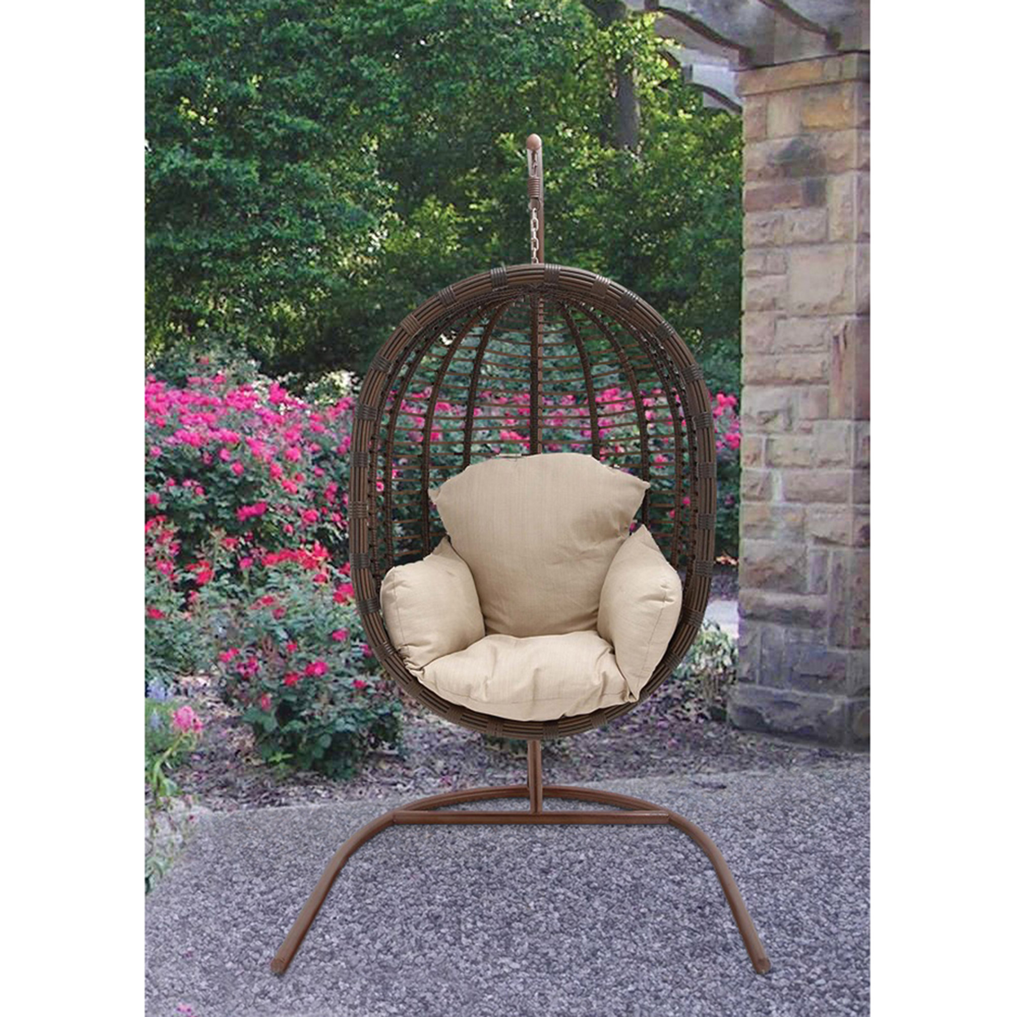 Charmant Hanover Outdoor Furniture Rattan Wicker Pod Swing Chair With Full Cream  Cushion