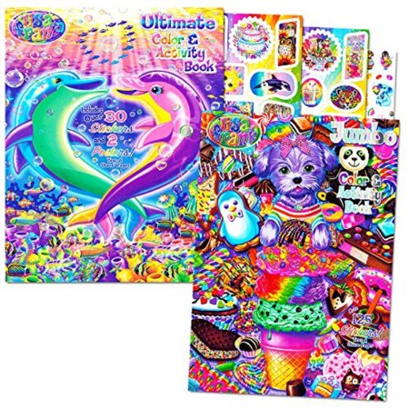 lisa frank stickers and coloring book super set (2 books - over 150 stickers, 2 posters and 100 pages of coloring fun featuring lisa