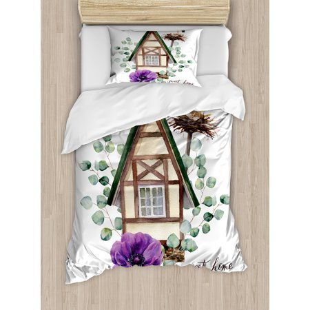 Anemone Flower Twin Size Duvet Cover Set, Watercolor Happy Home Label House in Alpine Style White Stork Nest, Decorative 2 Piece Bedding Set with 1 Pillow Sham, Green Purple Brown, by Ambesonne