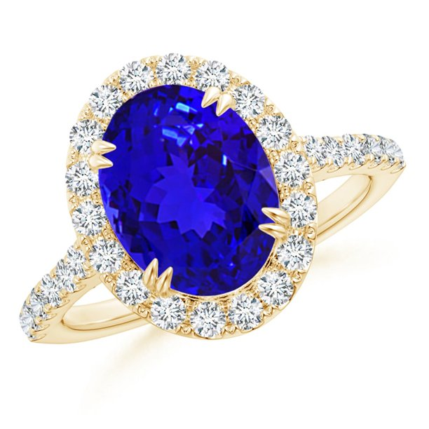 December Birthstone Ring - Double Claw-Set Oval Tanzanite Halo Ring with Diamonds in 14K Yellow Gold (10x8mm Tanzanite) - SR1066TD-YG-AAAA-10x8-8.5