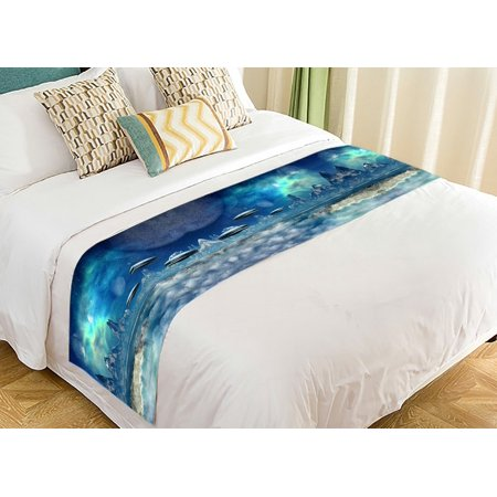 GCKG Fantasy Bed Runner, Alien Planet With Spaceships Bed Runners Scarves Bed Decoration 20x95 - Spaceship Decorations