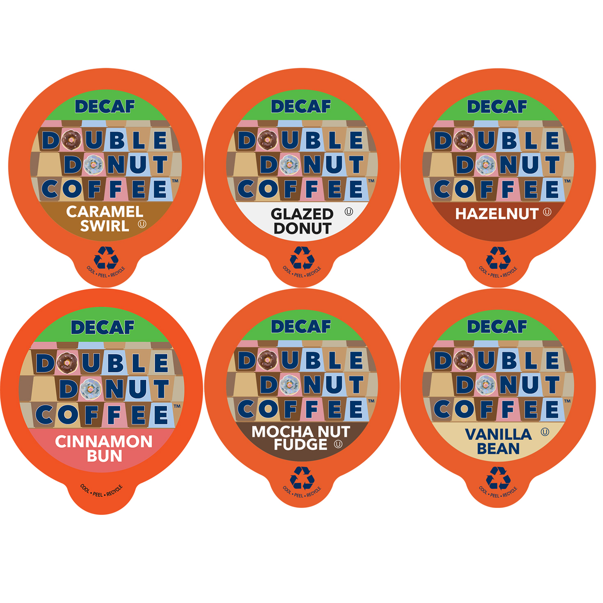 Double Donut, Decaf Flavored Coffee K-Cups Variety Pack Sampler, 72 Ct
