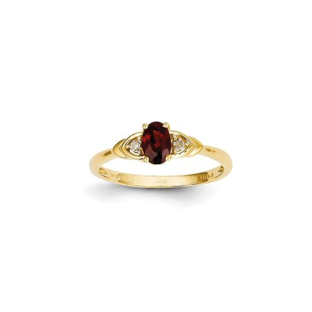 14k Yellow Gold Diamond Red Garnet Band Ring Size 7.00 Stone Birthstone January Set (Bliss Gold Ring)