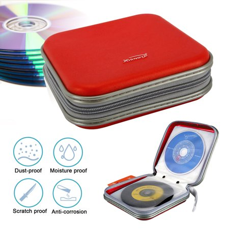 EEEkit Double-side CD DVD VCD Storage Bag Case Organizer Wallet Holder Album Bag Box, 40 Pieces, Red