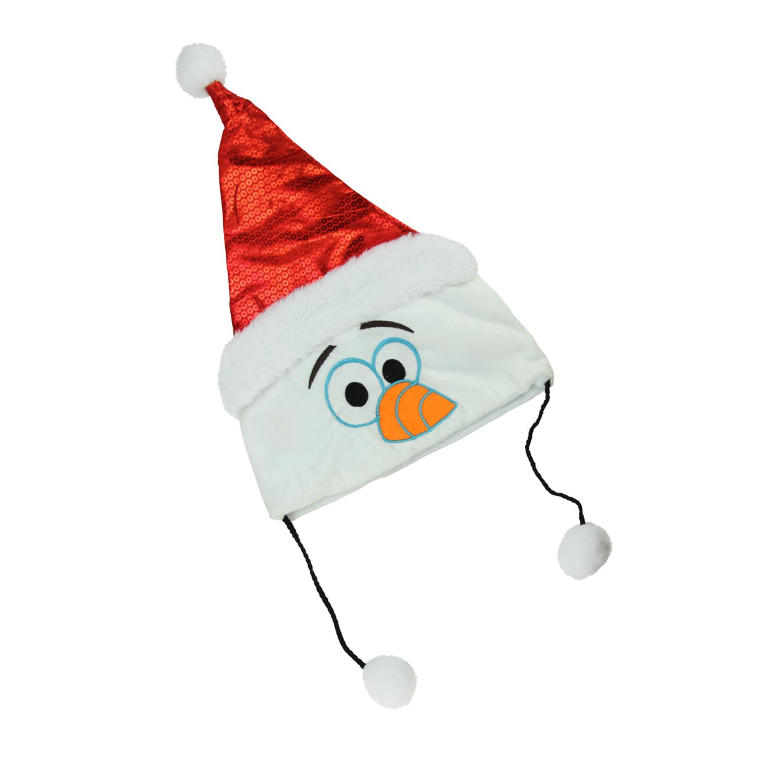 """16"""" Disney Frozen Plush Olaf Christmas Santa Hat with White Fur Trim and Hanging Pompoms"""