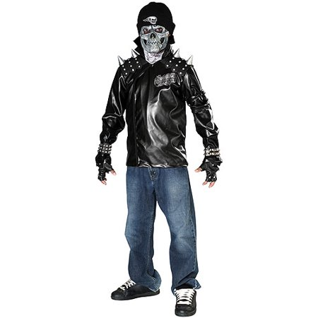 Metal Skull Biker Teen Halloween Costume