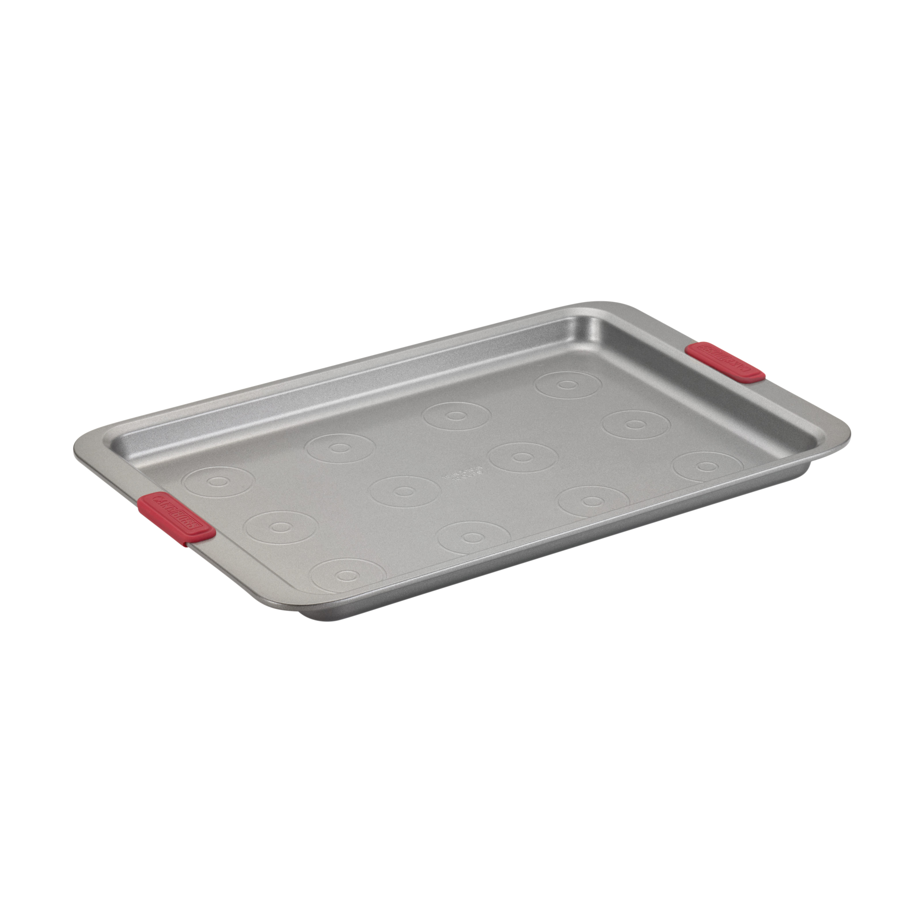"Cake Boss Basics Nonstick Bakeware 10"" by 15"" Cookie Pan with Drop Zones, Light Gray with Red... by Meyer Corporation"