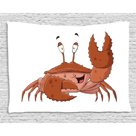 Crabs Tapestry, Friendly Chela Arthropod Waving His Nipper Greeting with a Big Smile Funny Creature, Wall Hanging for Bedroom Living Room Dorm Decor, 60W X 40L Inches, Brown Coral, by Ambesonne ()