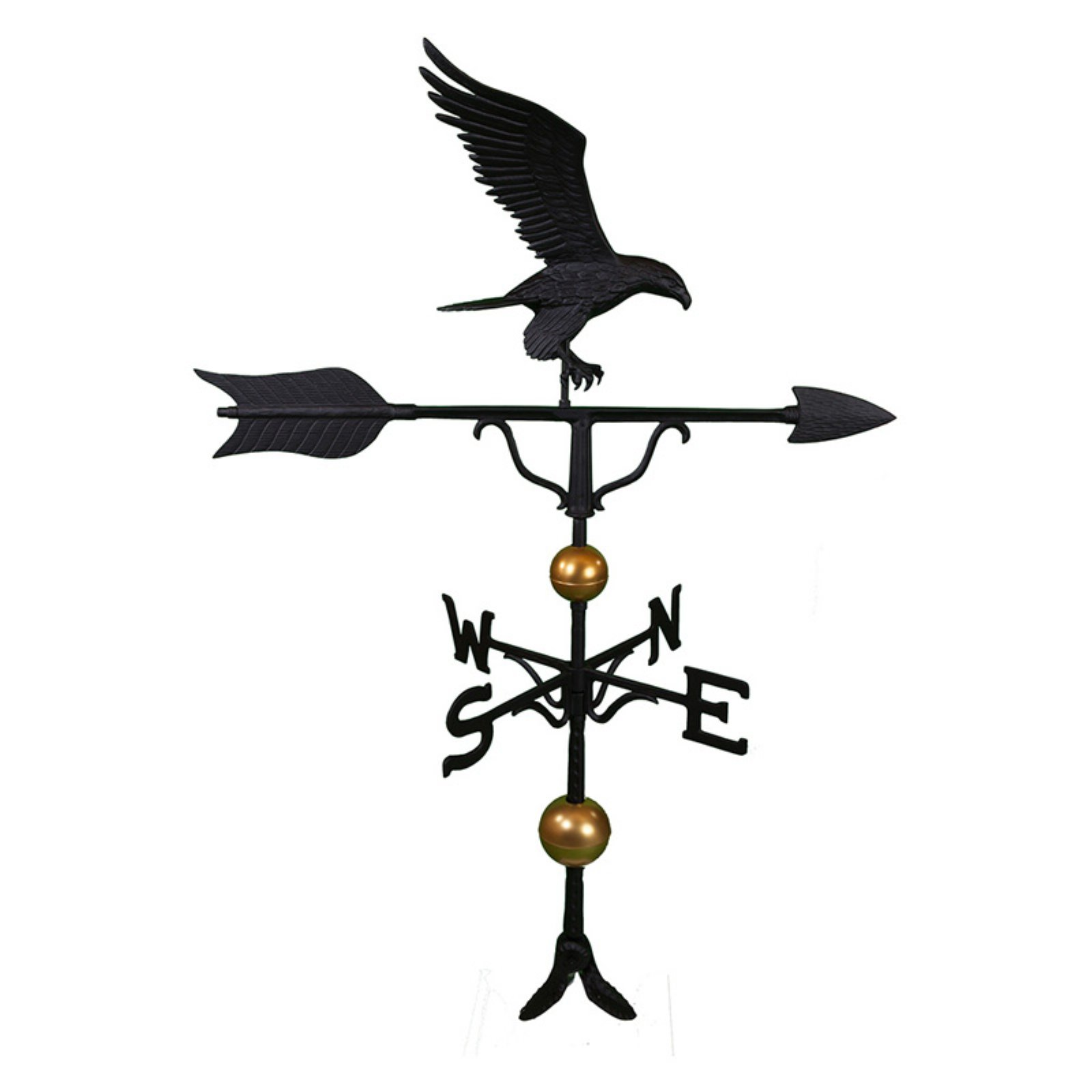 Deluxe Black Full Bodied Eagle Weathervane - 52 in.