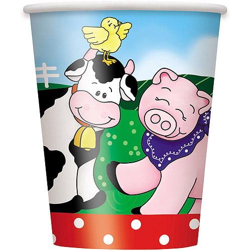 9oz Paper Farm Party Cups, 8ct