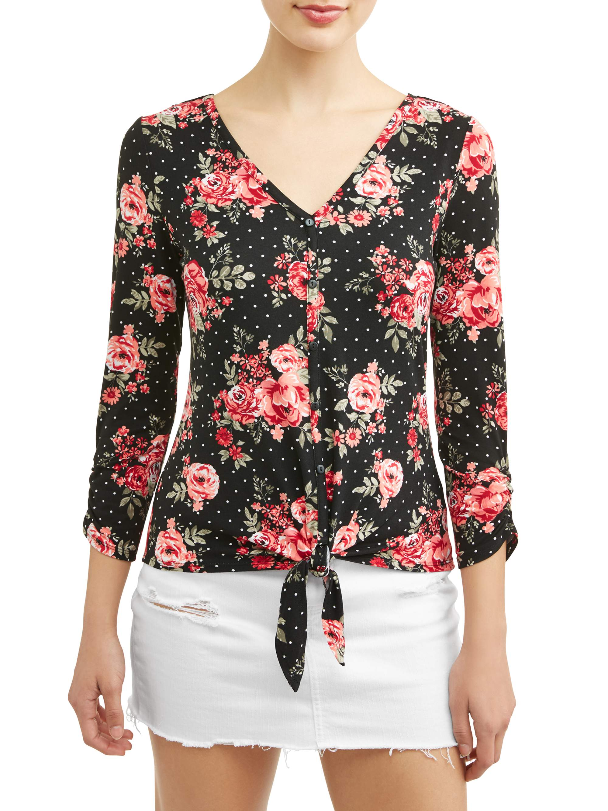 """Juniors' Yummy Knit Floral Printed Button Tie Front 3/4"""" Blouse"""