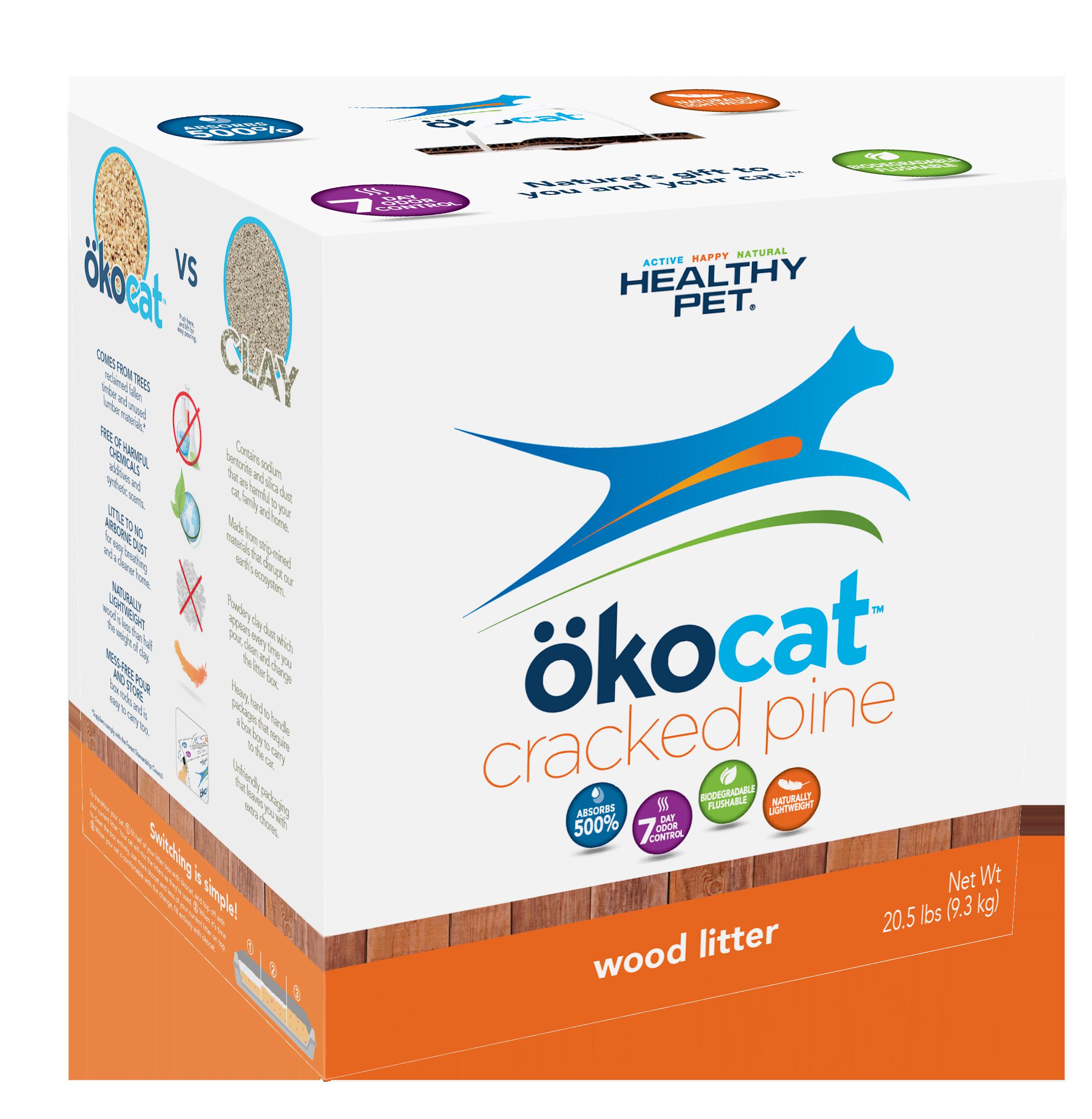Okocat Cracked Pine Wood Cat Litter, 20.5-lb