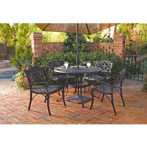 Home Styles Biscayne 42 in. Black Patio Dining Set