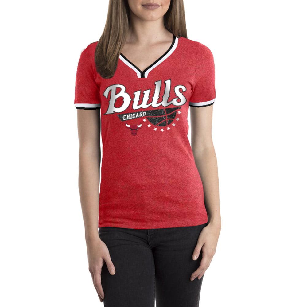 Chicago Bulls Women's NBA Short Sleeve Biblend V Notch Scoop Neck Tee
