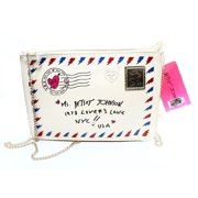 Betsey Johnson NEW White Ivory Cream PVC Love Letter Crossbody Bag Purse $68 #66