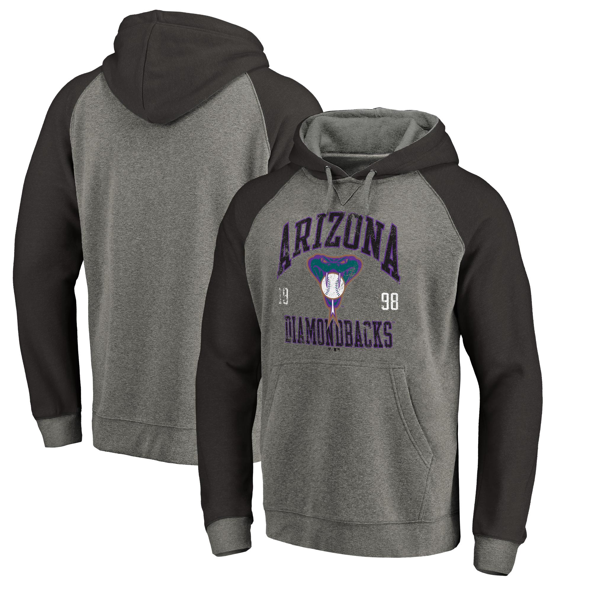 Arizona Diamondbacks Fanatics Branded Cooperstown Collection Old Favorite Tri-Blend Raglan Pullover Hoodie - Ash
